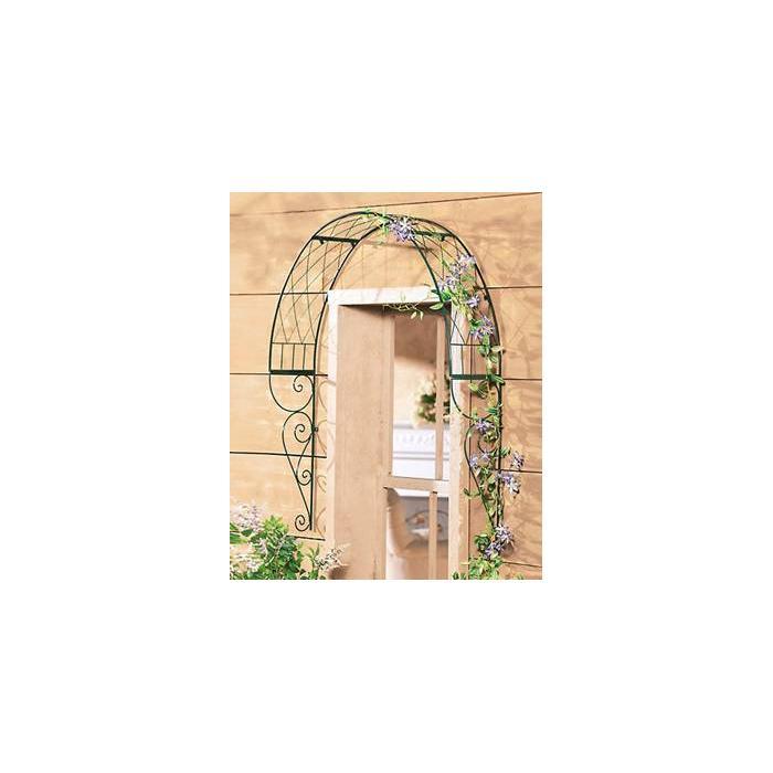 rosenbogen t r rankhilfe metall dunkelgr n. Black Bedroom Furniture Sets. Home Design Ideas