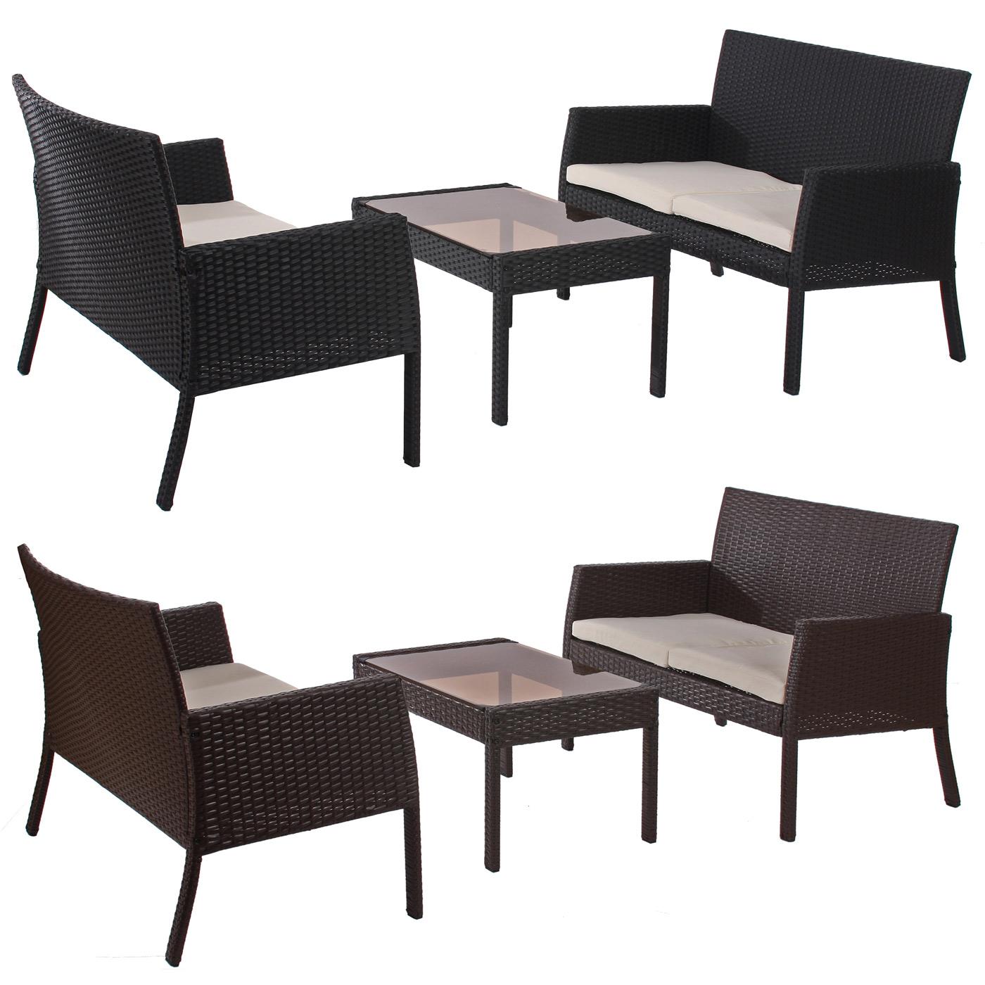 Poly-Rattan Garten-Garnitur Sitzgruppe Sanremo 2x Bank + Tisch ~ Variantenangebot