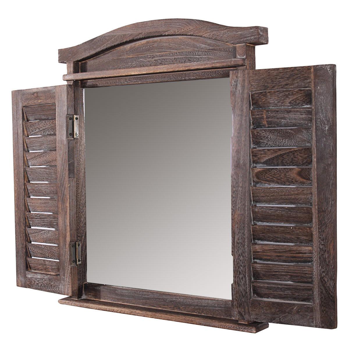 Shabby-Look Vintage braun Wandspiegel Spiegelfenster mit Fensterläden 53x42x5cm