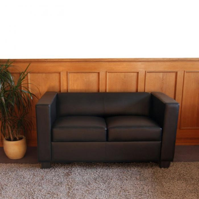 2er sofa couch loungesofa lille leder schwarz. Black Bedroom Furniture Sets. Home Design Ideas