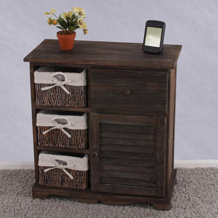 kommode schrank mit 3 k rben 63x60x30cm shabby look vintage braun. Black Bedroom Furniture Sets. Home Design Ideas