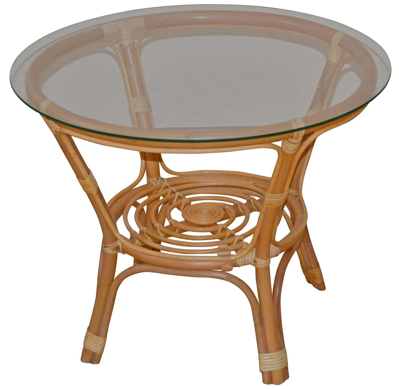 Rattantisch H135 Tisch Beistelltisch Wohnzimmertisch Couchtisch Honigfarben 57x70x70cm