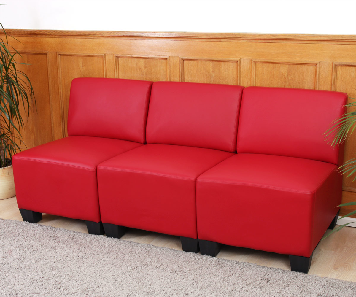 modular 3 sitzer sofa couch lyon kunstleder rot ohne armlehnen. Black Bedroom Furniture Sets. Home Design Ideas