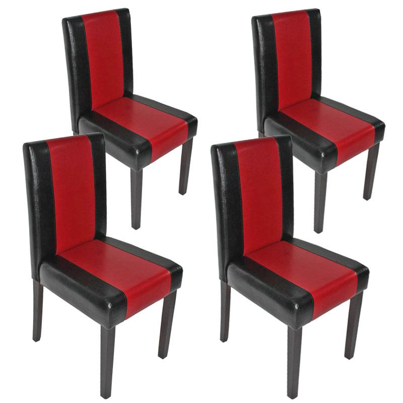 4x esszimmerstuhl stuhl lehnstuhl littau kunstleder schwarz rot dunkle beine. Black Bedroom Furniture Sets. Home Design Ideas