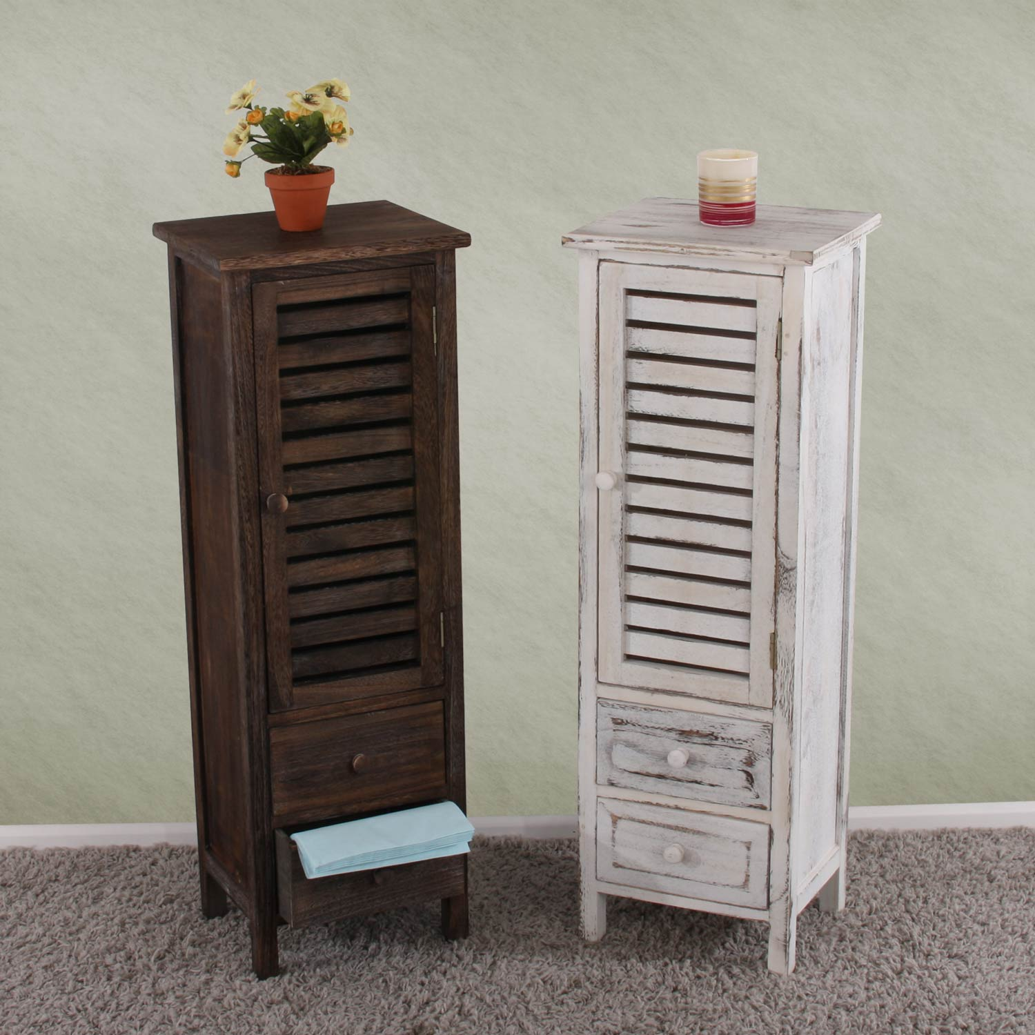 kommode schrank 90x30x25cm shabby look vintage braun. Black Bedroom Furniture Sets. Home Design Ideas