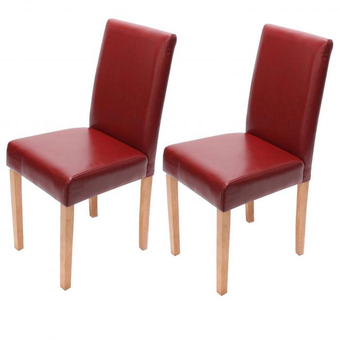 4x esszimmerstuhl stuhl lehnstuhl littau leder rot helle beine. Black Bedroom Furniture Sets. Home Design Ideas