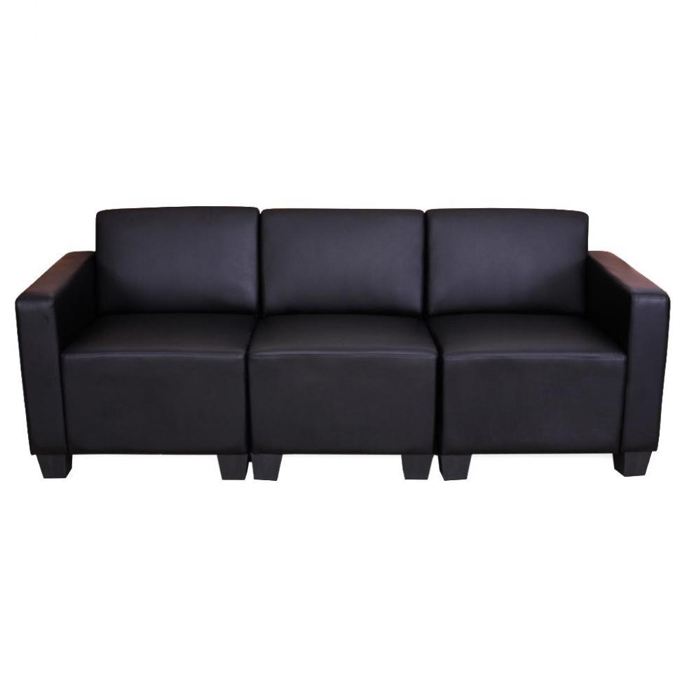 Modular 3 sitzer sofa couch lyon kunstleder schwarz ebay for Couch polsterung