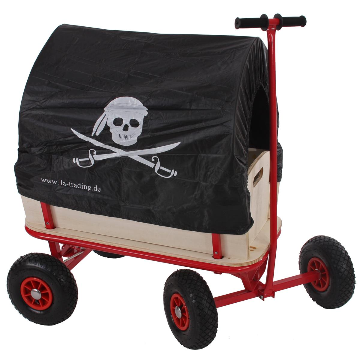 bollerwagen handwagen leiterwagen oliveira mit sitz ohne bremse dach pirat schwarz. Black Bedroom Furniture Sets. Home Design Ideas