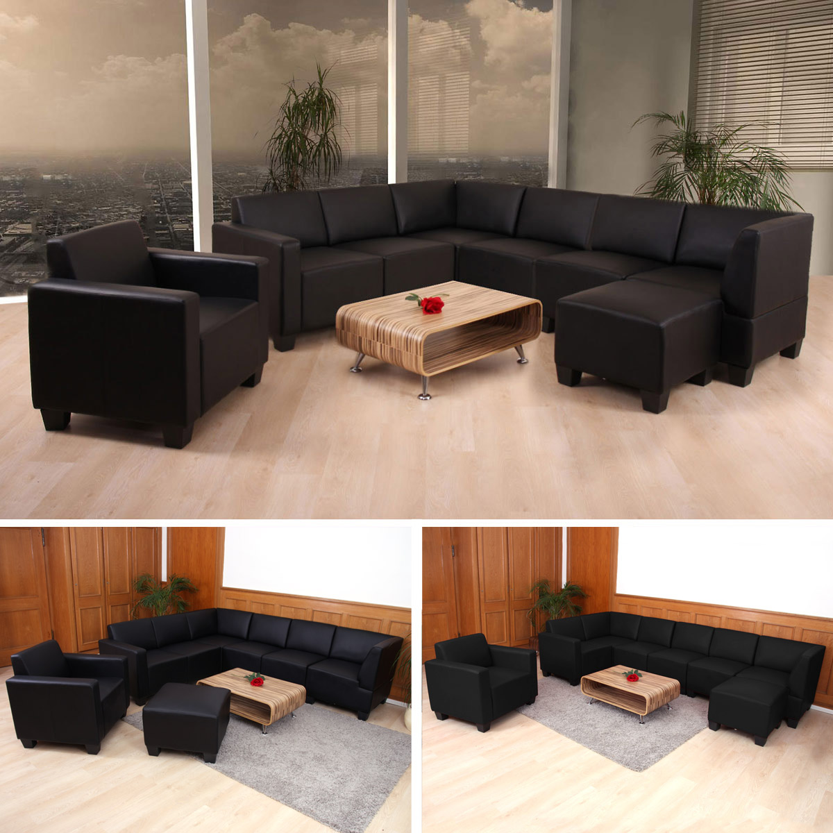 modular sofa system couch garnitur lyon 6 1 1 kunstleder schwarz. Black Bedroom Furniture Sets. Home Design Ideas