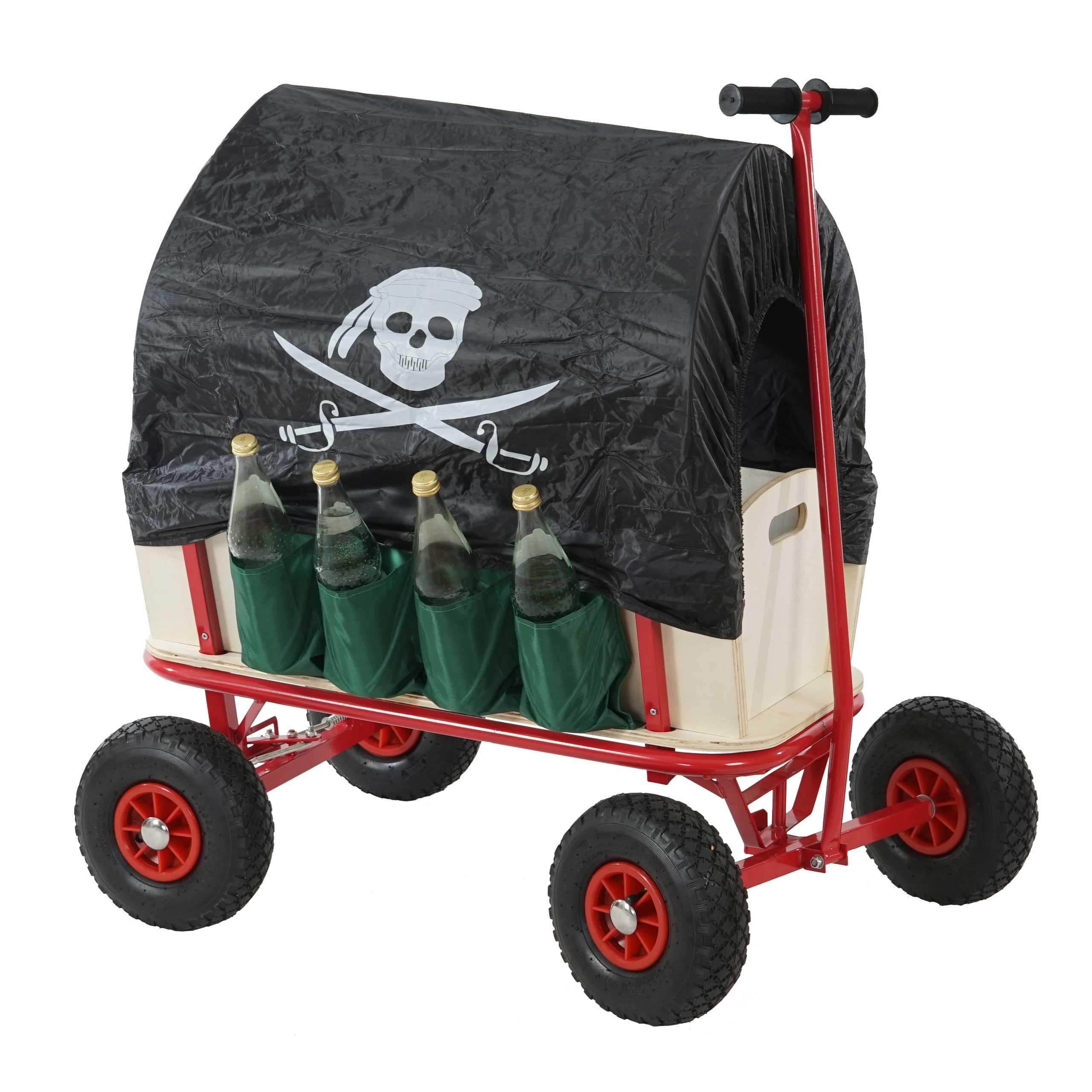 bollerwagen handwagen leiterwagen oliveira inkl sitz bremse flaschenhalter dach pirat schwarz. Black Bedroom Furniture Sets. Home Design Ideas