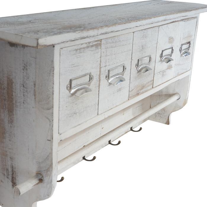 garderobe wandgarderobe wandregal mit 5 schubladen 32x65x13cm shabby look vintage wei. Black Bedroom Furniture Sets. Home Design Ideas