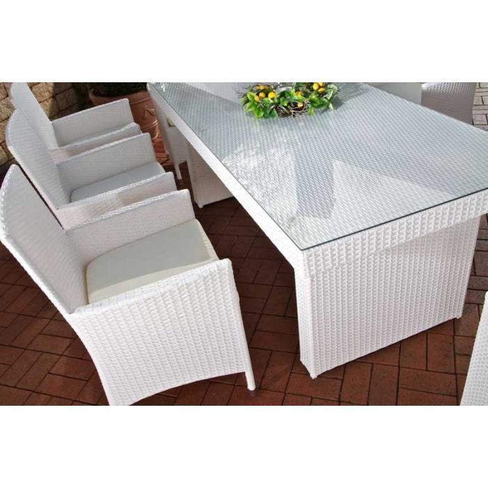 Sitzgruppe Sitzgarnitur Gartengarnitur Avignon Big Poly Rattan Weiß