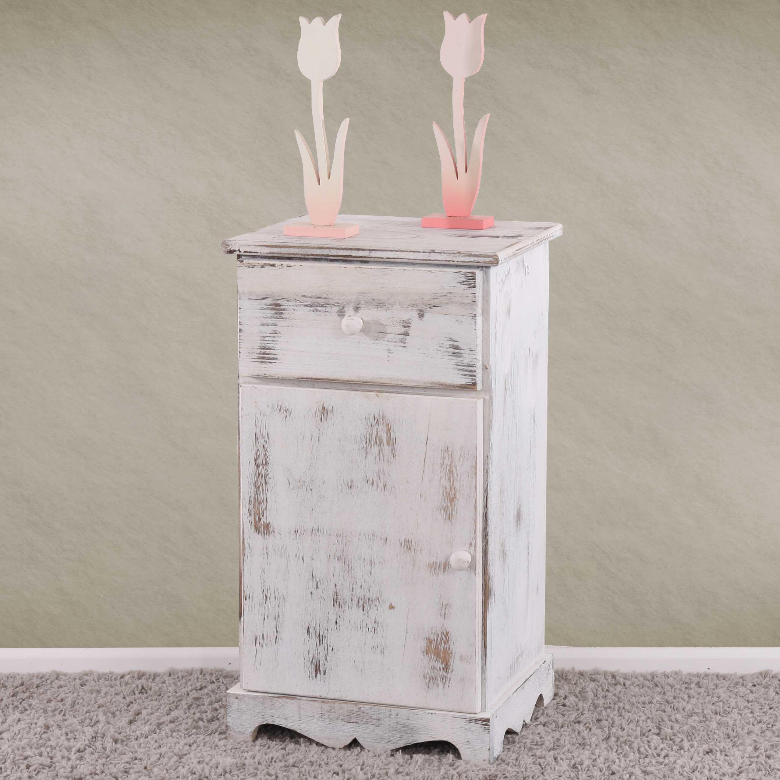 Vintage möbel weiss  Beistelltisch Nachttisch Telefontisch, 63x35x29cm, Shabby-Look ...