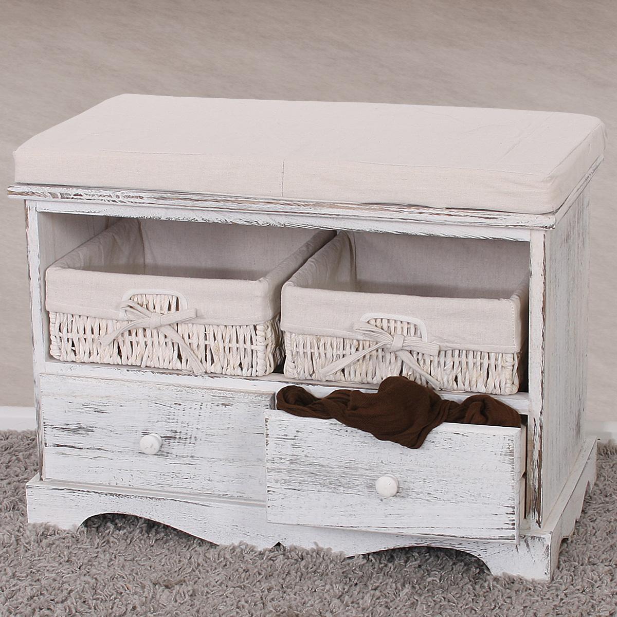 Sitzbank kommode mit 2 k rben garderobe shabby look for Vintage mobel grau