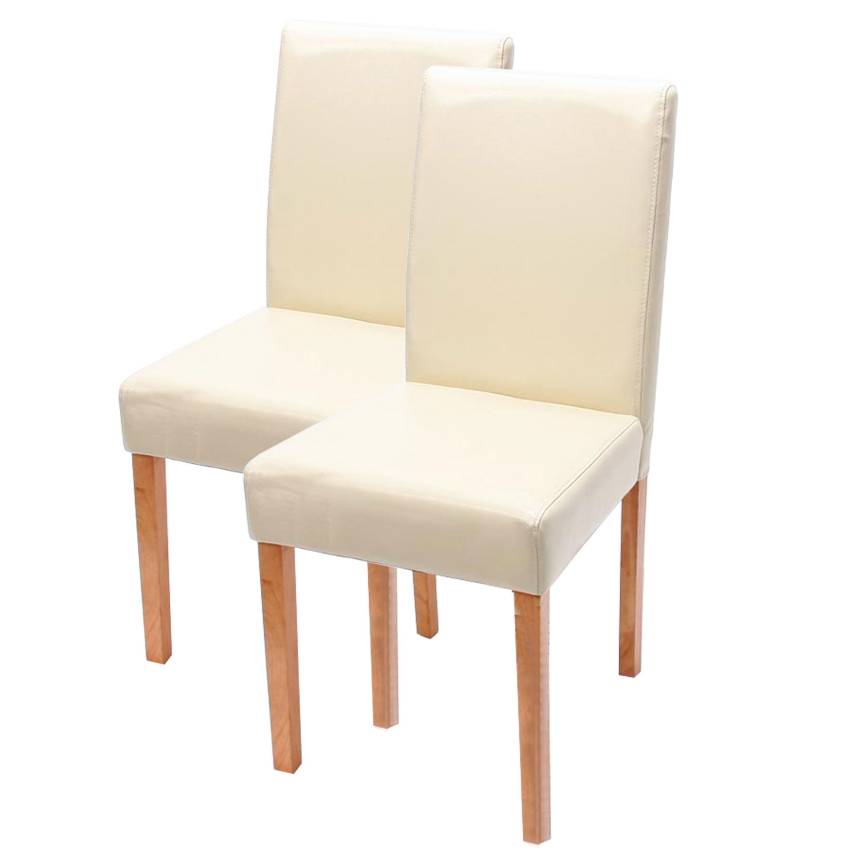 Stühle weiß leder  2x Esszimmerstuhl Lehnstuhl Stuhl Littau Leder schwarz, creme, rot ...