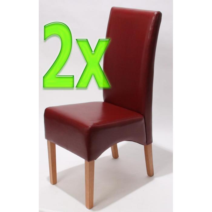 2x Esszimmerstuhl Küchenstuhl Stuhl Latina, LEDER ~ rot, helle Beine