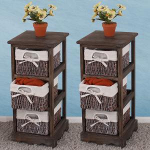 2x regal kommode mit 3 korbschubladen 58x25x28cm shabby look vintage braun. Black Bedroom Furniture Sets. Home Design Ideas