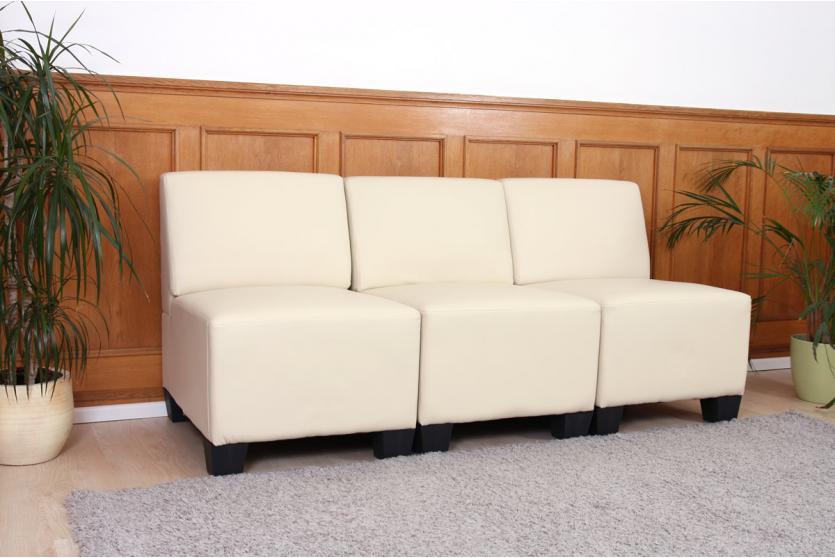 modular 3 sitzer sofa couch lyon kunstleder creme ohne. Black Bedroom Furniture Sets. Home Design Ideas