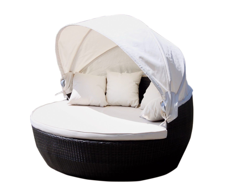 poly rattan deluxe sonneninsel ld49 strandkorb sofabett sonnenliege 170cm. Black Bedroom Furniture Sets. Home Design Ideas