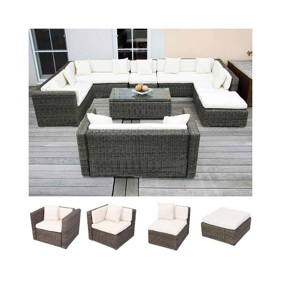 Modulares Luxus Alu Sofa RomV rundes Poly Rattan grau
