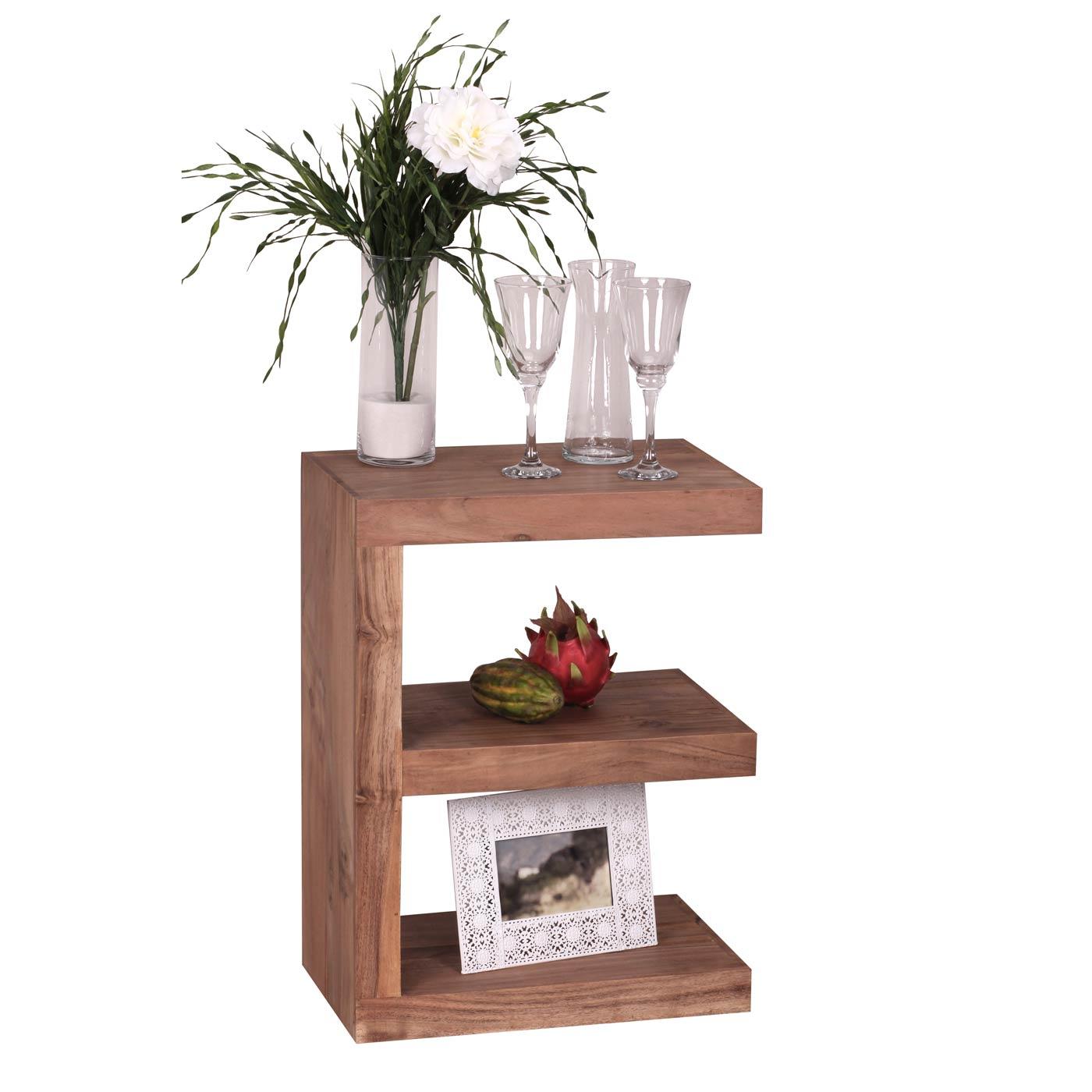 beistelltisch konya regal zeitungsst nder nachttisch akazie massivholz 60x45x30cm. Black Bedroom Furniture Sets. Home Design Ideas