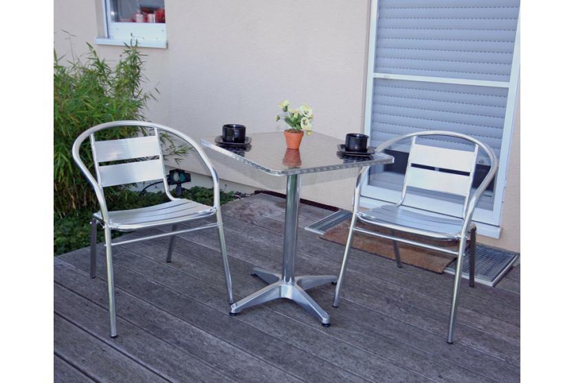 garten sitzgruppe bistro garnitur aluminium stapelbar tisch eckig 2x stuhl ebay. Black Bedroom Furniture Sets. Home Design Ideas