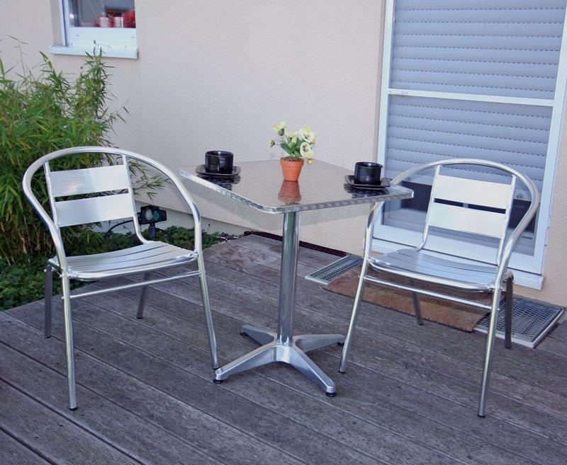 Bistro garnitur garten sitzgruppe aluminium stapelbar for Conjunto terraza barato