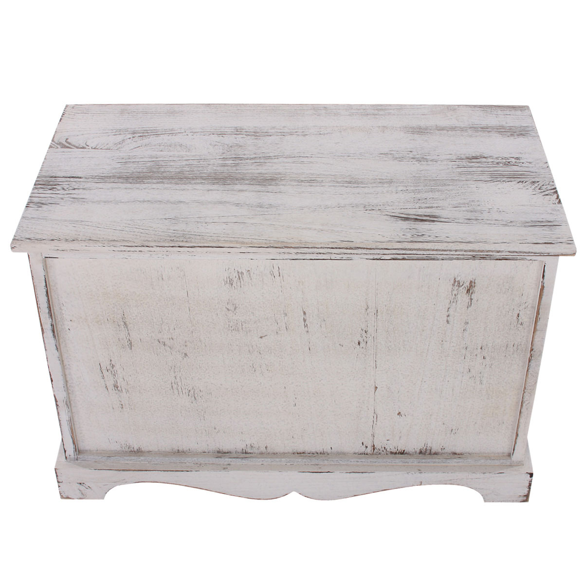 sitzbank kommode mit 2 k rben 42x62x33cm shabby look vintage wei. Black Bedroom Furniture Sets. Home Design Ideas