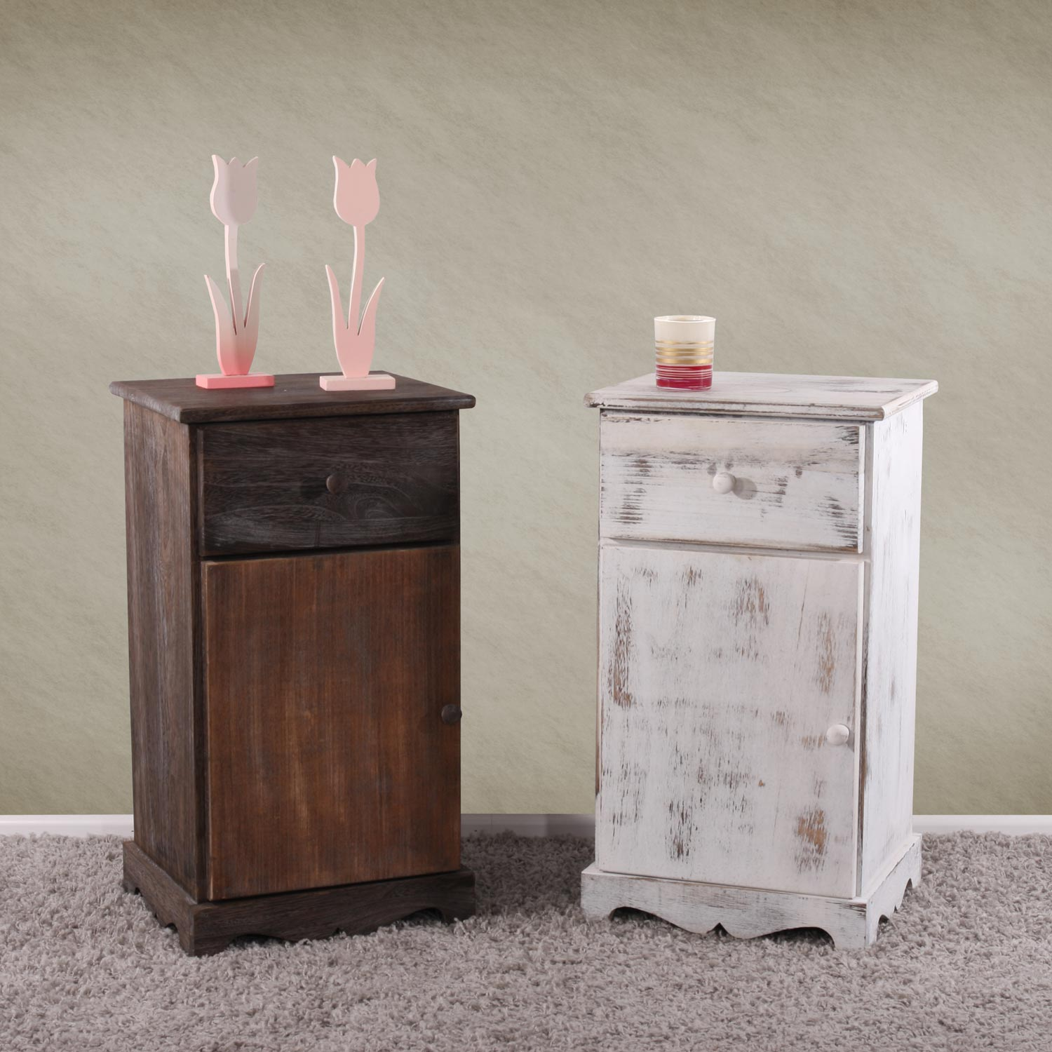 kommode beistelltisch nachttisch telefontisch 63x35x29cm shabby look vintage wei. Black Bedroom Furniture Sets. Home Design Ideas