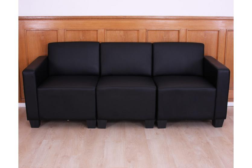 Modular 3 Sitzer Sofa Couch Lyon Kunstleder Schwarz