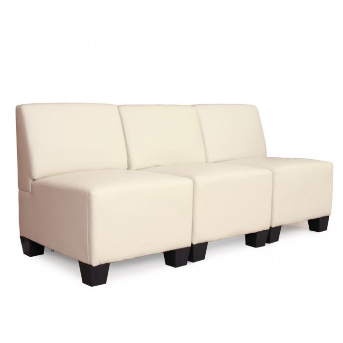 modular 3 sitzer sofa couch lyon kunstleder creme ohne armlehnen. Black Bedroom Furniture Sets. Home Design Ideas