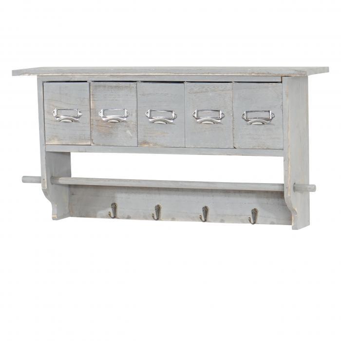 Küchenregal HWC C49, Haushaltsregal Regal, Vintage Mit 5 Schubladen  32x65x13cm ~ Shabby Look, Grau