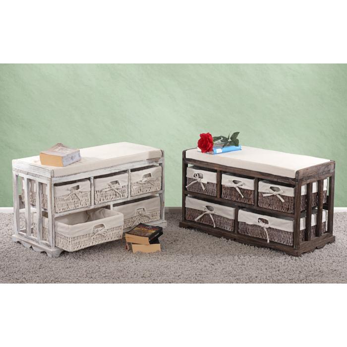 kommode und sitzbank mit 5 schubladen 77x45x36cm shabby look vintage wei. Black Bedroom Furniture Sets. Home Design Ideas