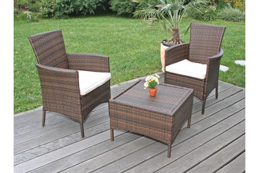 1x oder 2x gartensessel korbsessel romv poly rattan alu anthrazit braun meliert ebay. Black Bedroom Furniture Sets. Home Design Ideas