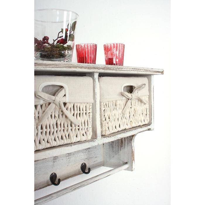 Großartig Garderobe Wandregal Mit 2 Körben + 2x Beistelltisch, Shabby Look, Vintage ~  Weiß