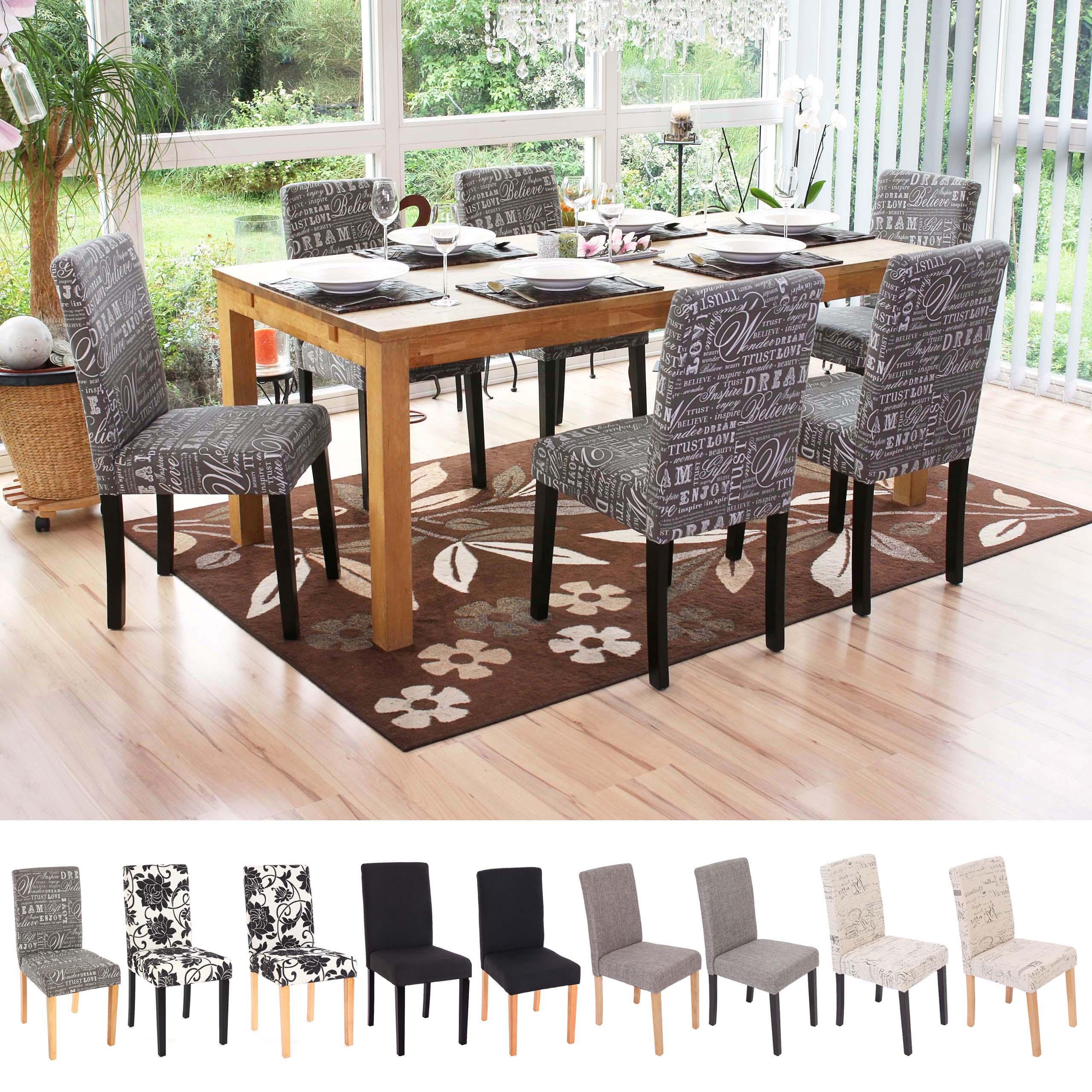 2x esszimmerstuhl stuhl lehnstuhl littau textil uni jacquard schriftzug ebay. Black Bedroom Furniture Sets. Home Design Ideas
