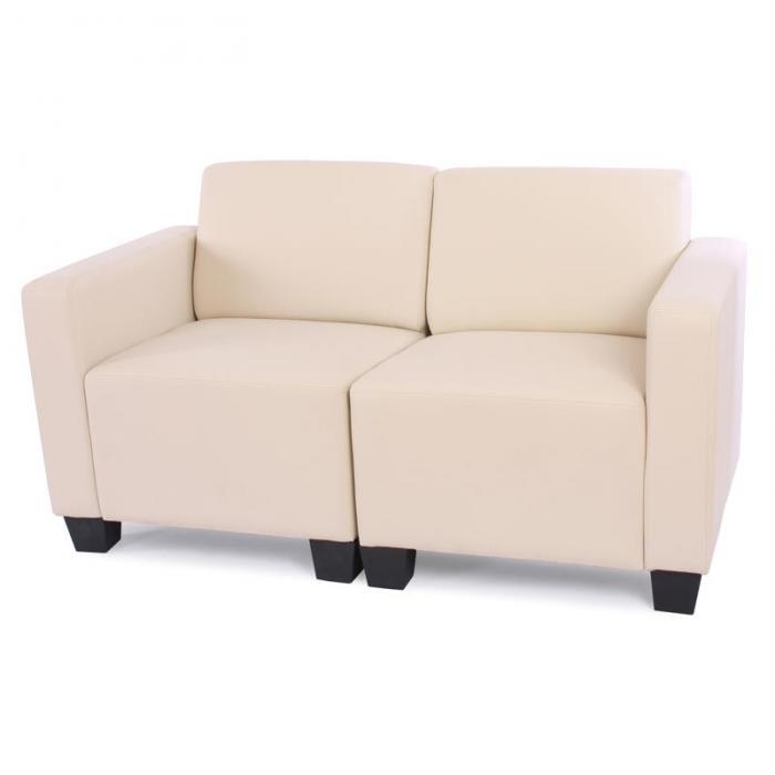 2-sitzer sofa couch lyon, kunstleder ~ creme, Hause deko