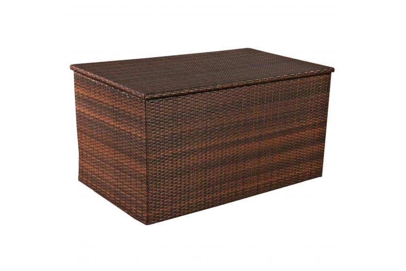 auflagenbox kissenbox gartentruhe l polyrattan braun meliert. Black Bedroom Furniture Sets. Home Design Ideas