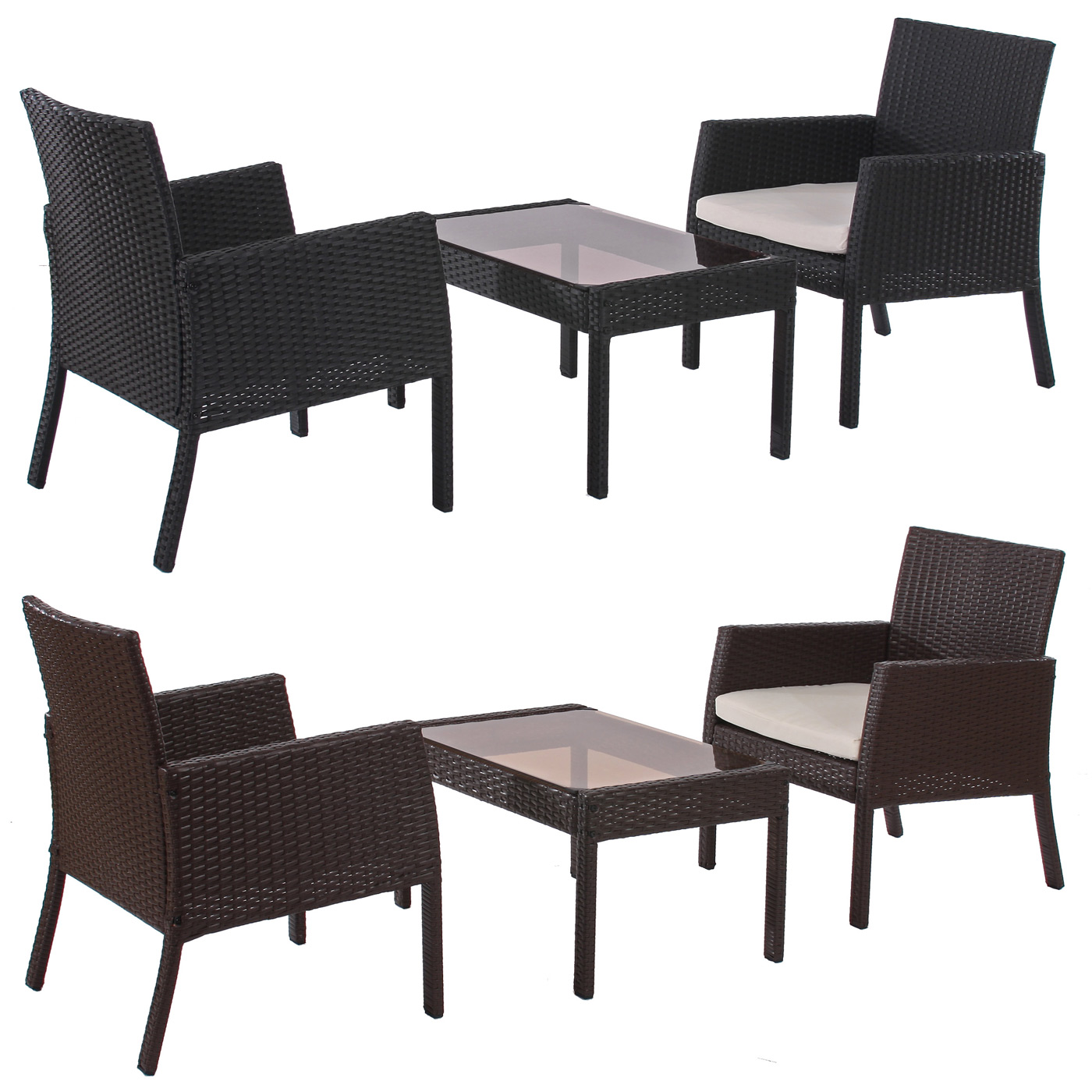 poly rattan garten garnitur sitzgruppe sanremo 2x sessel tisch ebay. Black Bedroom Furniture Sets. Home Design Ideas