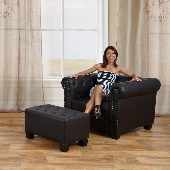 Luxus sessel  Sessel Loungesessel Relaxsessel Chesterfield Kunstleder ~ eckige ...