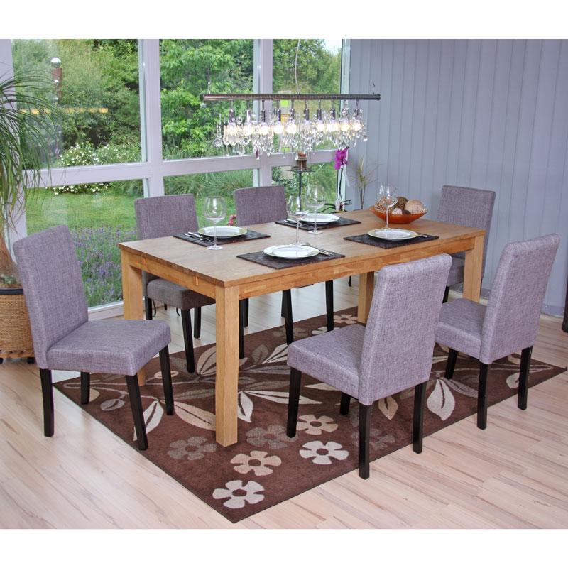 Lot de 6 chaises de séjour Littau, tissu, pieds foncés   clairs ... 50df66ed054d