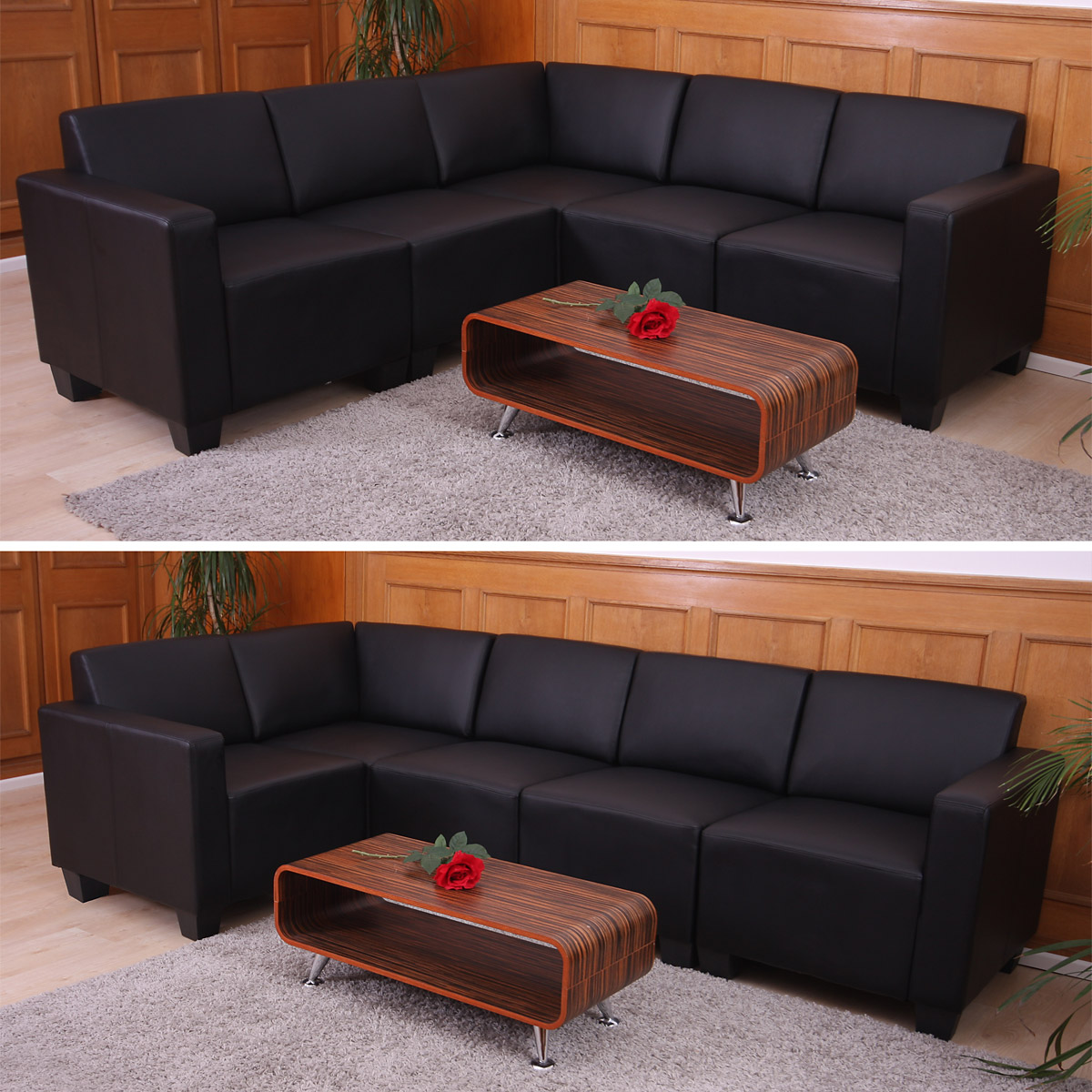 modular sofa system couch garnitur lyon 5 kunstleder schwarz. Black Bedroom Furniture Sets. Home Design Ideas