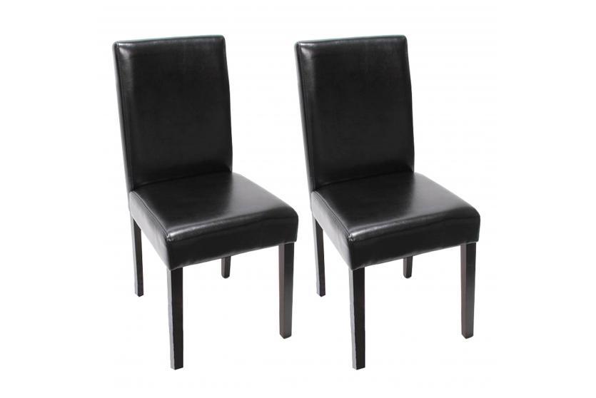 2x Esszimmerstuhl Stuhl Küchenstuhl Littau ~ Leder, schwarz, dunkle Beine