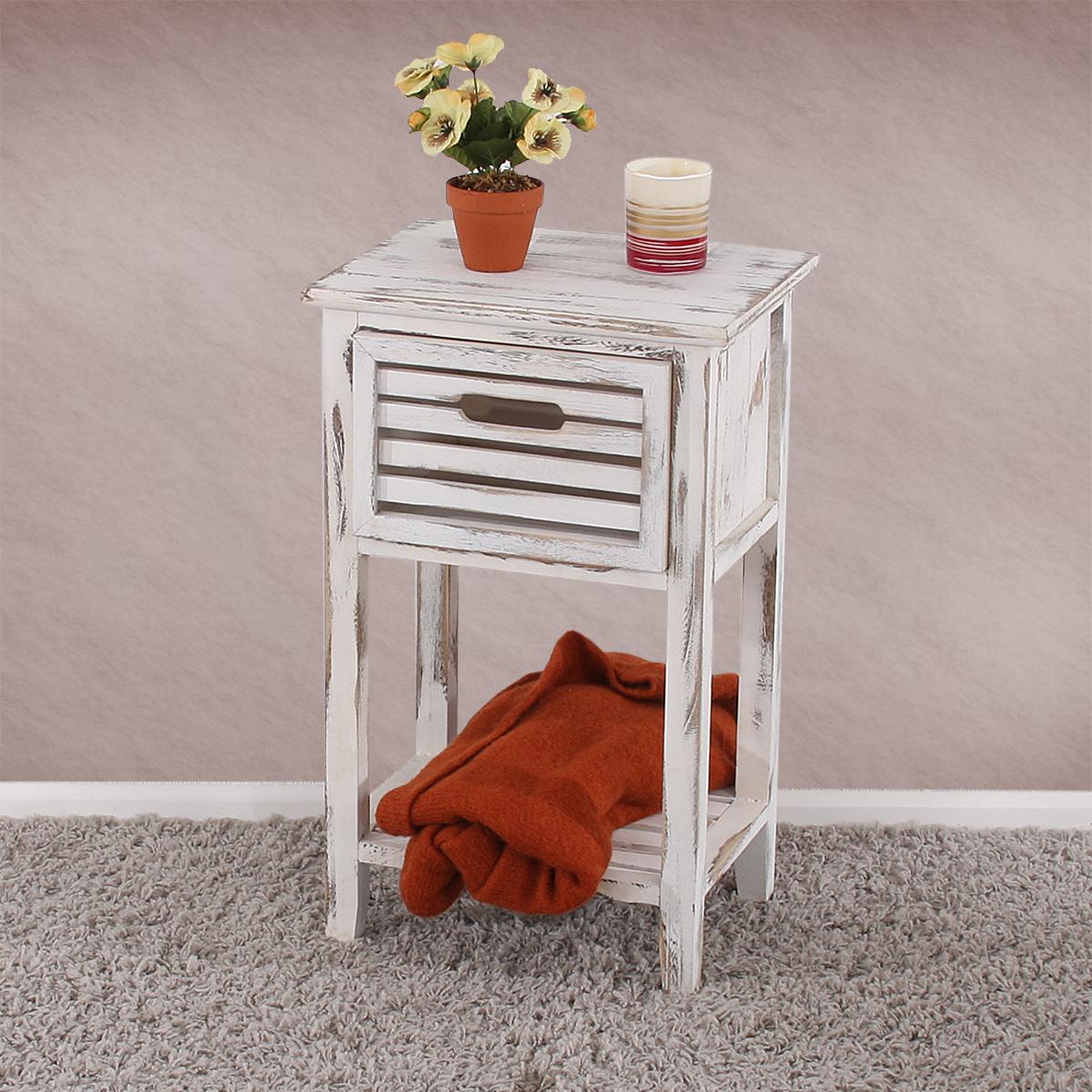 kommode beistelltisch telefontisch 57x35x27cm shabby look vintage wei. Black Bedroom Furniture Sets. Home Design Ideas