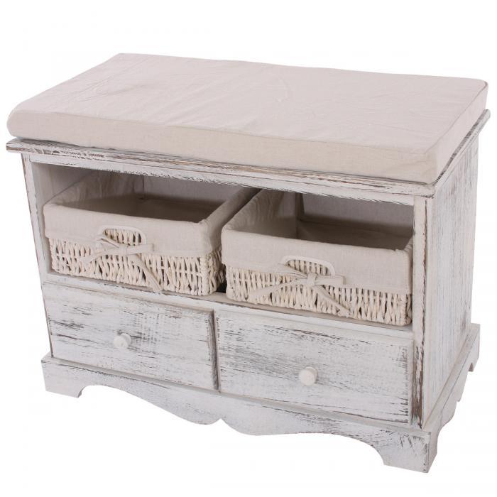 Sitzbank Kommode Mit 2 Körben 42x62x33cm Shabby Look Vintage Weiß
