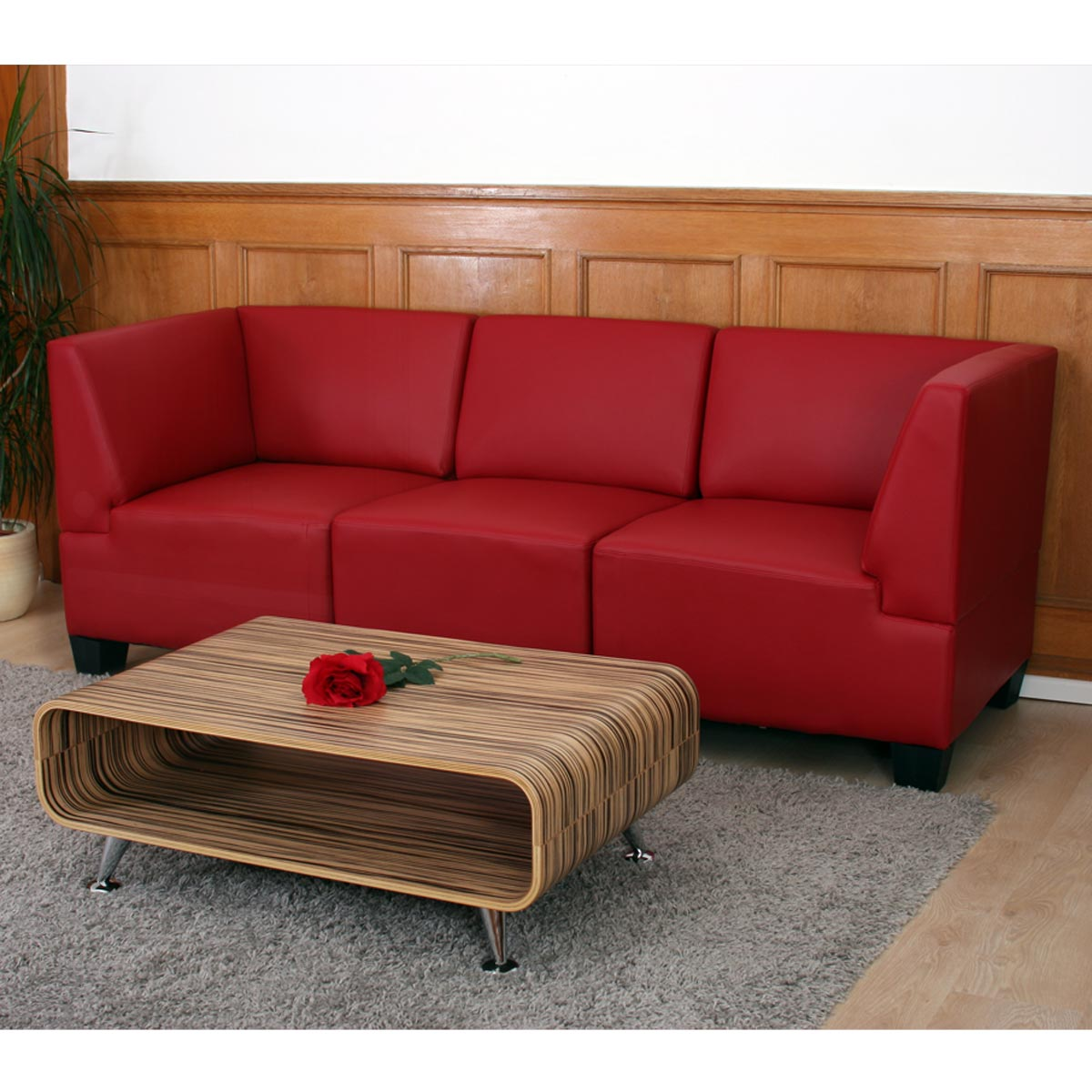 modular dreisitzer sofa couch lyon kunstleder schwarz rot creme. Black Bedroom Furniture Sets. Home Design Ideas