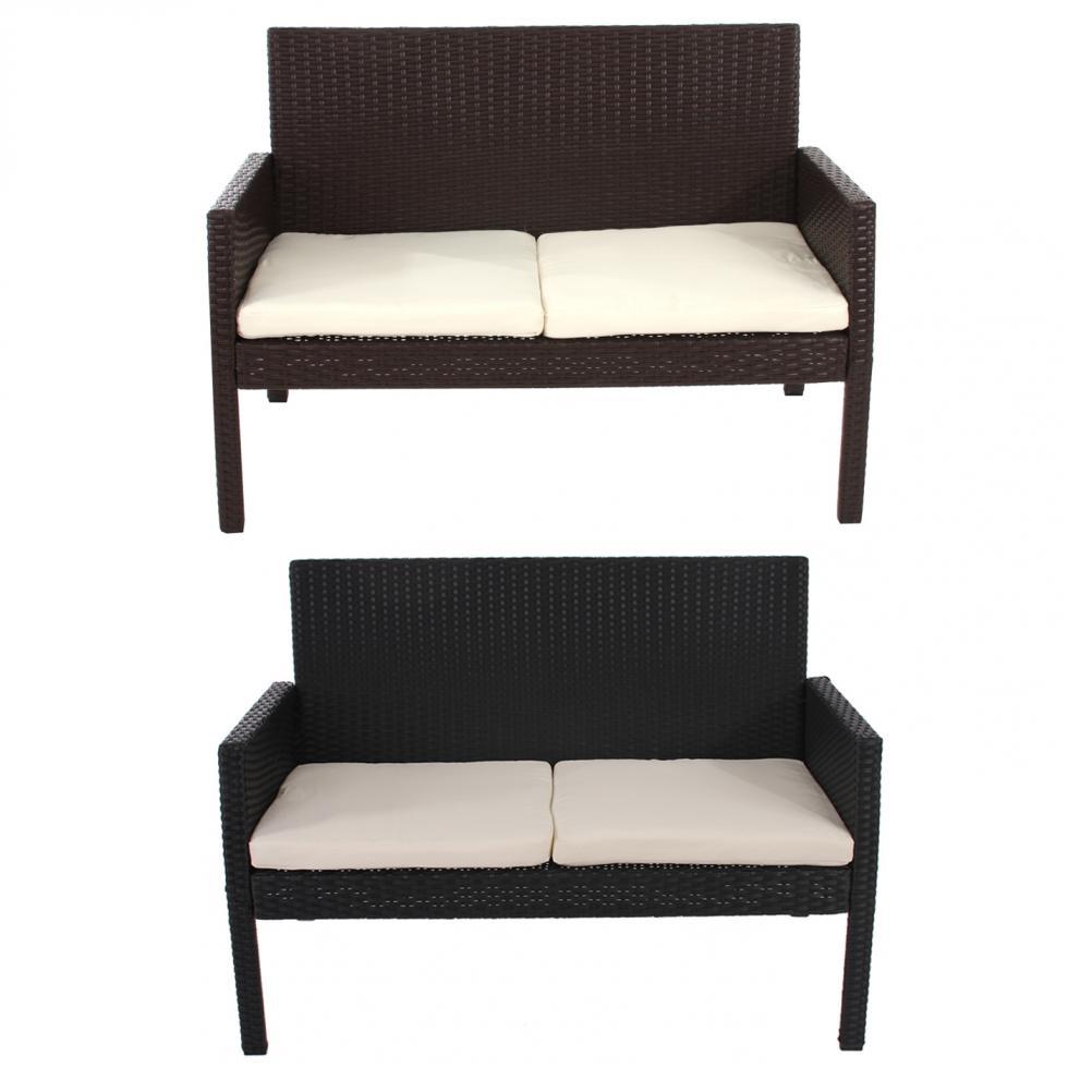 poly rattan bank sitzbank gartenbank sanremo inkl sitzkissen ebay. Black Bedroom Furniture Sets. Home Design Ideas