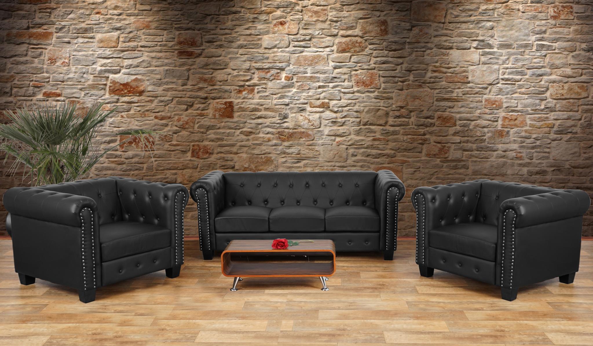 luxus 3 1 1 sofagarnitur couchgarnitur loungesofa chesterfield kunstleder eckige f e schwarz. Black Bedroom Furniture Sets. Home Design Ideas