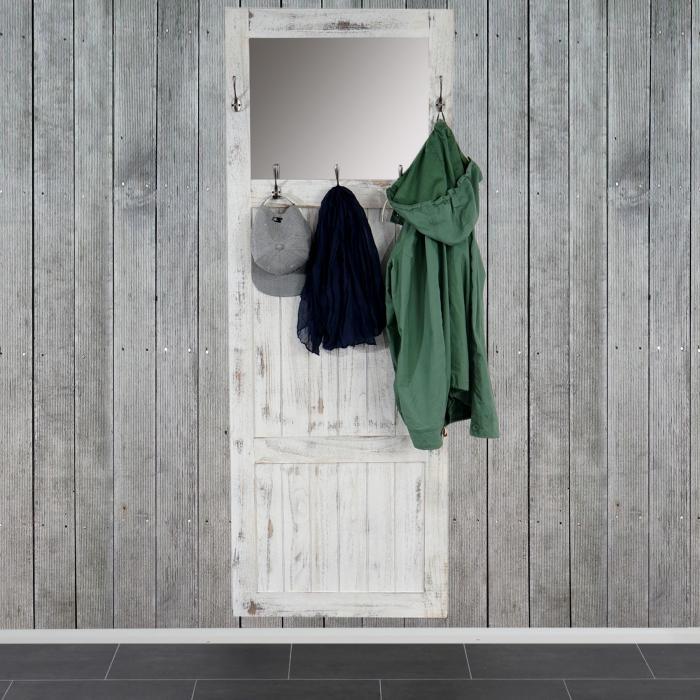 garderobe wandgarderobe mit spiegel wandhaken 180x65x7cm shabby look vintage wei. Black Bedroom Furniture Sets. Home Design Ideas