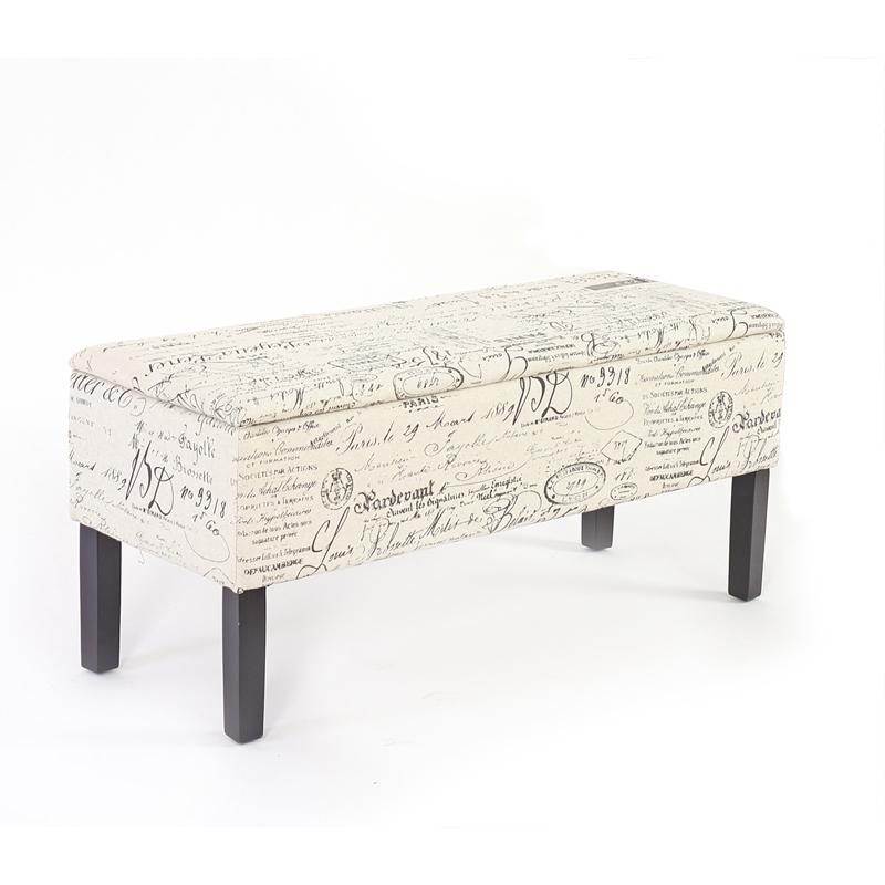 banc coffre de rangement renens 95x36x44 tissu noir beige gris jacquard ebay. Black Bedroom Furniture Sets. Home Design Ideas